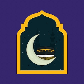 Islamic mecca and arch illustration