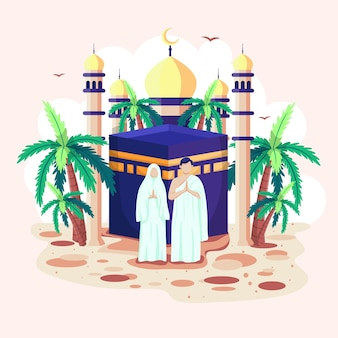 Islamic men and women stand in front of an mosque. the mosque's dome and the crescent moon reflect beautifully.