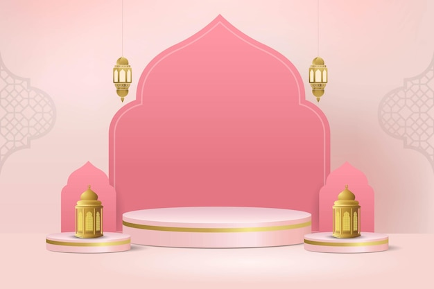 Исламский минимальный 3d-подиум для демонстрации продуктов