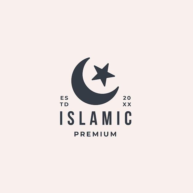 Исламский современный логотип с луной и звездой символизирует религию ислам