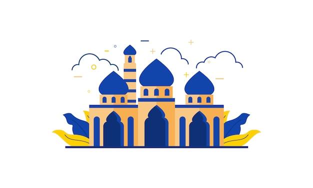 Islamic mosque building flat design illustration