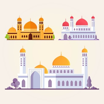 Islamic mosque building set flat illustration