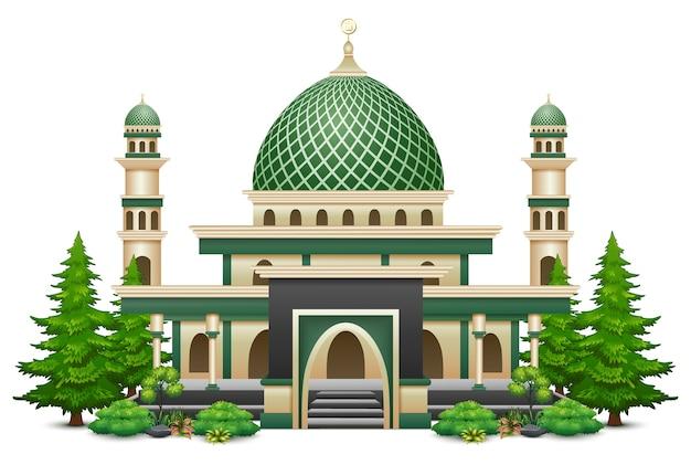 녹색 식물을 가진 이슬람 사원