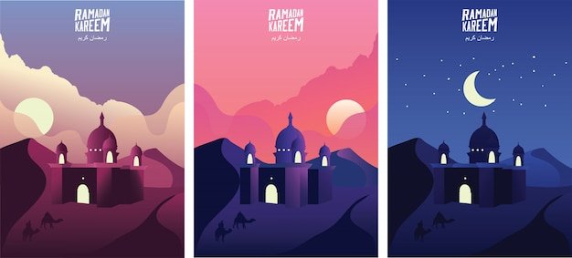 Islamic mosque in the desert sand at sunrise, sunset and night. ramadan kareem greeting banners set template vector illustration. - vector