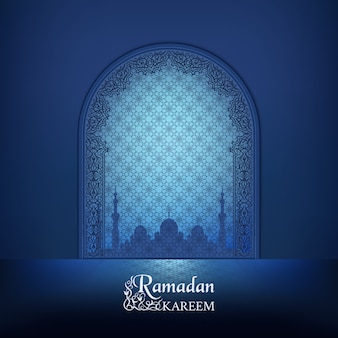 Islamic mosque door, silhouette of a mosque with reflection. arabic ornamental outline dark blue decor.