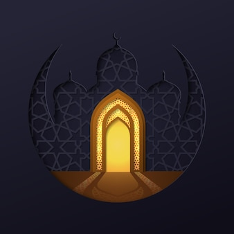 Islamic mosque with moon geometric background and golden mosque door