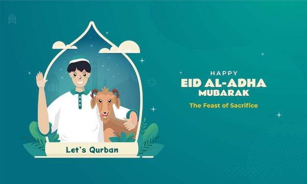 Исламский мусульманский персонаж и коза для приветствия ид аладха