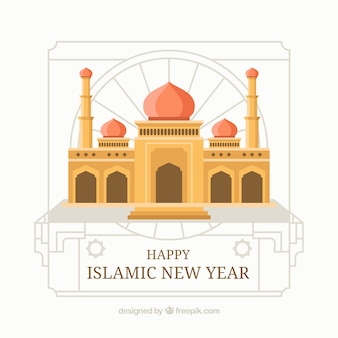 Islamic new year background with mosque in flat design