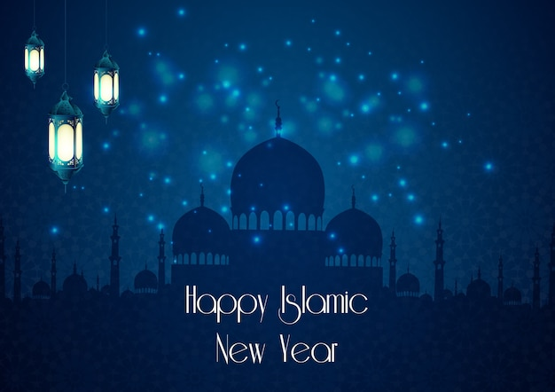 Islamic new year background with mosque and lamp