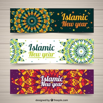 Islamic new year banners with mandala design