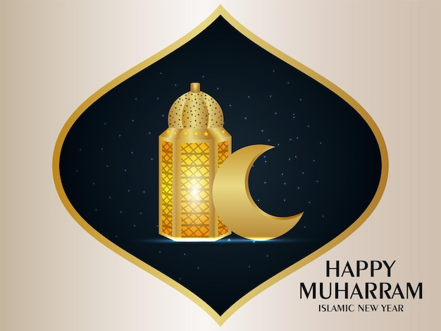Islamic new year celebration greeting card with golden moon and lantern