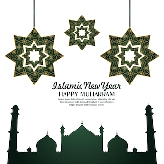 Islamic new year celebration greeting card with mosque for happy muharram