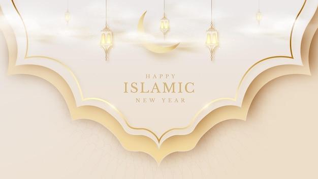 이슬람 새해 창조적인 배경, 램프, 반달은 패턴에 구름과 금색 선을 겹칩니다. 고급스러운 사실적인 종이 컷 스타일의 모스크 디자인. 텍스트를 배치할 빈 공간입니다. 벡터 일러스트 레이 션.
