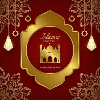 Исламский новый год элегантный красный и роскошный золотой декоративный фон