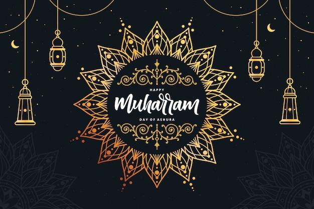イスラムの新年ゴールデンマンダラ背景
