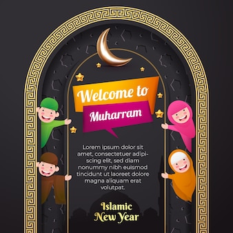 イスラムの新年のグリーティングカード。ムハッラムへようこそ。ソーシャルメディアテンプレート。かわいいイスラム教徒の漫画のキャラクターと3dムーン