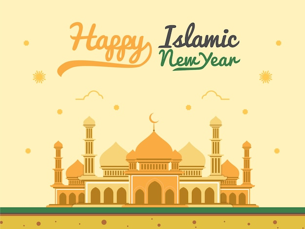 Islamic new year greeting vector