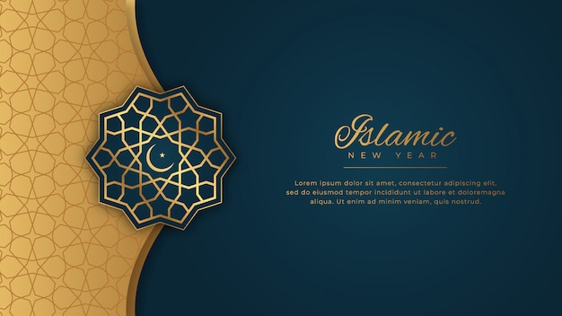 Islamic new year happy muharram blue background in ornamental elegant style with golden ornament