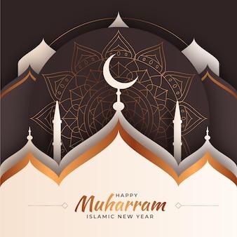 Исламский новый год в бумажном стиле