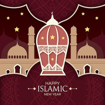 Islamic new year paper style concept