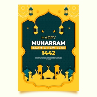 Islamic new year poster in paper style design