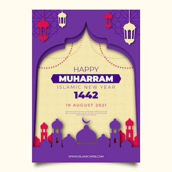 Islamic new year poster in paper style theme