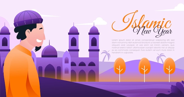 Islamic new year vector illustration with a man wearing a cap and mosque background