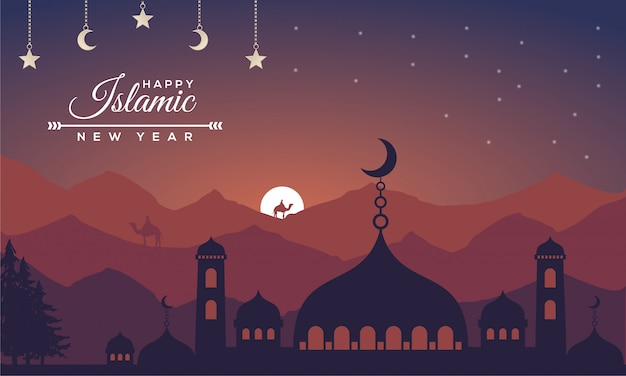 Islamic new year with lanscape concept background