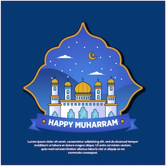 Islamic new year with mosque illustration