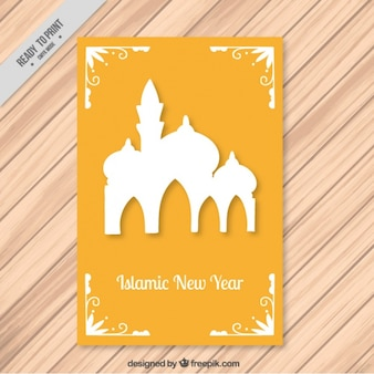 Islamic new year yellow card with mosque