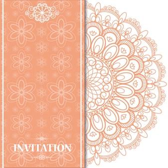 Islamic orange wedding card background