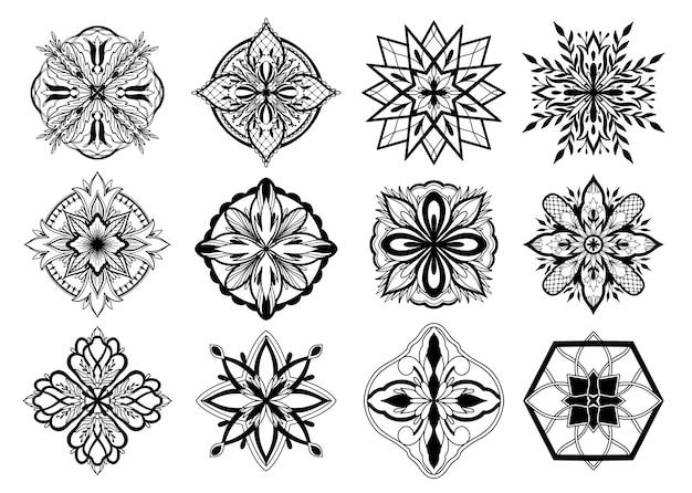 Исламский орнамент вектор дизайн, персидский мотив. черный графический цвет