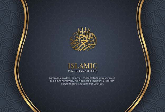 Islamic ornamental blue golden abstract background