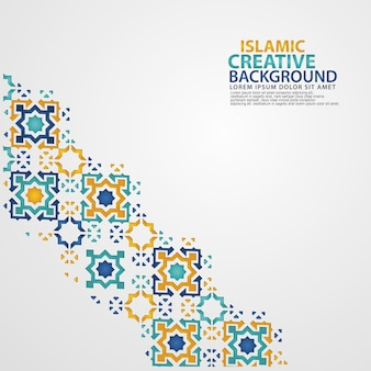 花のモザイクイスラム美術の装飾品のイスラム装飾カラフルなディテール。