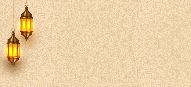 Islamic pattern background with hanging lantterns Premium Vector