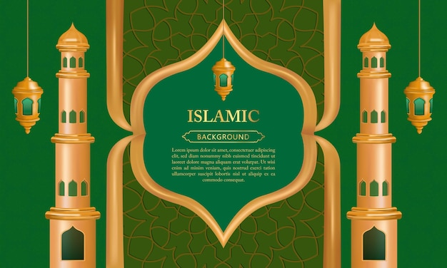 Islamic pattern background with latern and mosque minaret for eid mubarak banner template