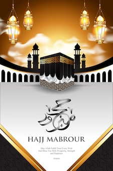 Islamic pilgrimage hajj on luxury white and gold background