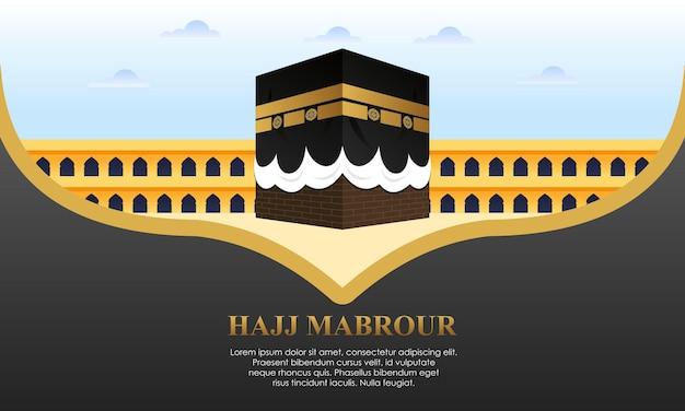 Islamic pilgrimage with kaaba for hajj mabroor
