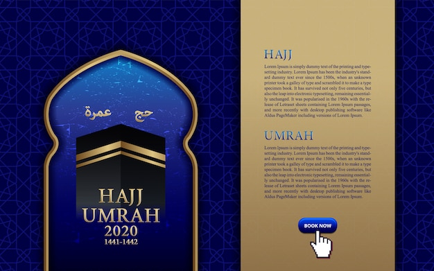 Islamic pligrimage in saudi arabia hajj umrah, banner template