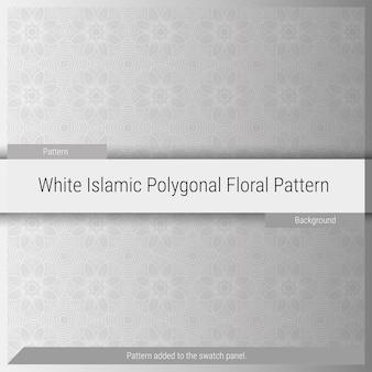 イスラムの多角形の花柄の背景-白-灰色