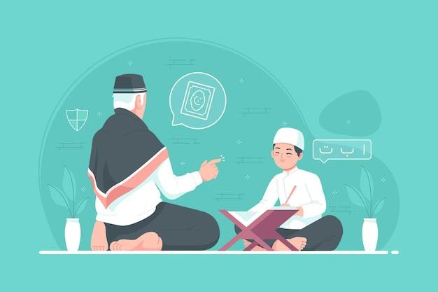 イスラムのコーランの家庭教師はコーランを読むことを教える
