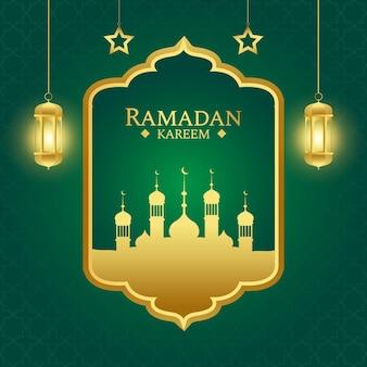 금색과 녹색 색상으로 이슬람 라마단 인사말 배경