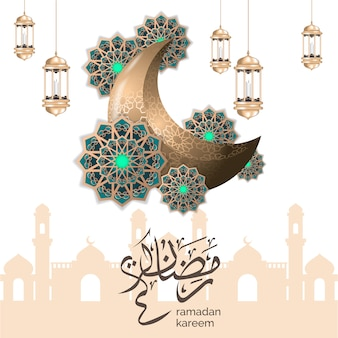 Islamic ramadan greeting with crescent moon and gold lantern