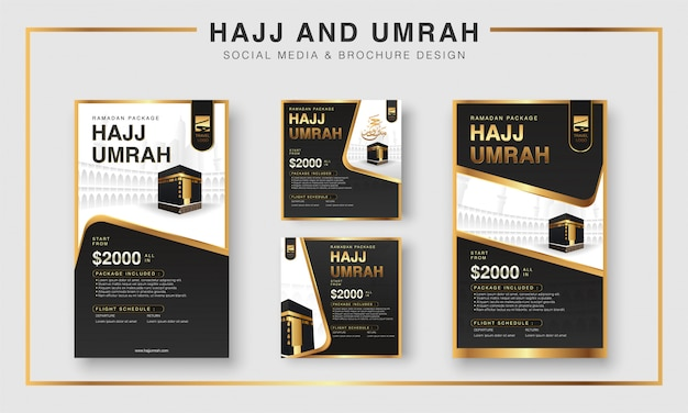 Islamic ramadan hajj & umrah brochure or flyer and social media template background design with praying hands and mecca illustration.