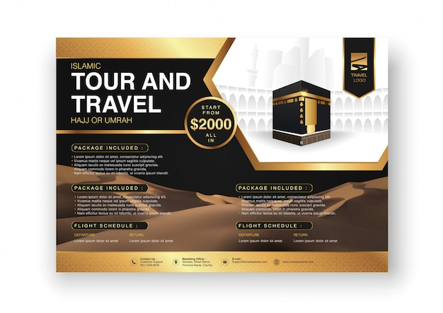 Islamic ramadan hajj & umrah brochure or flyer template background design with praying hands and mecca illustration in 3d realistic design.