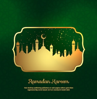 Islamic ramadan kareem background with gold mosque