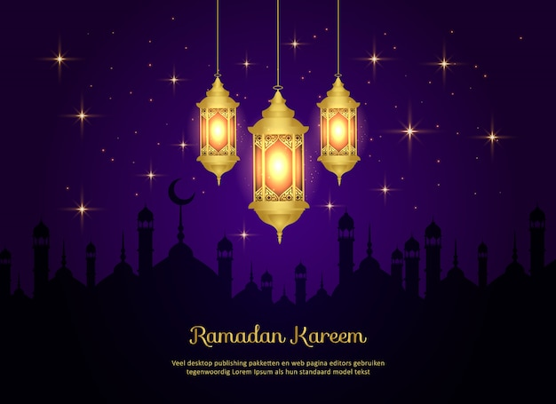 Islamic ramadan kareem background with lamps and mosque