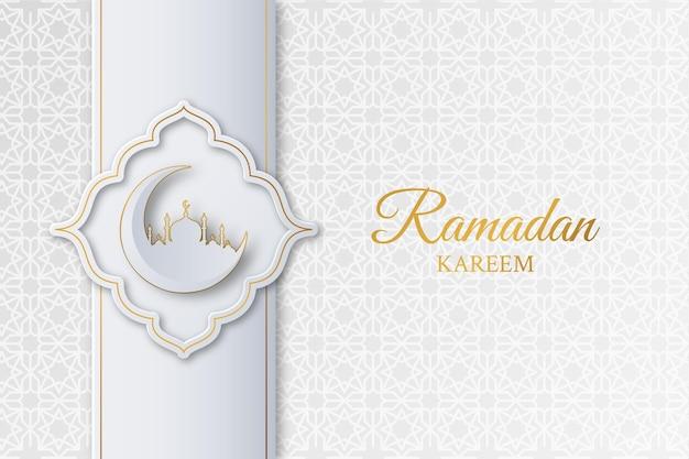 모스크, 초승달 및 기하학적 패턴 이슬람 라마단 카림 배경