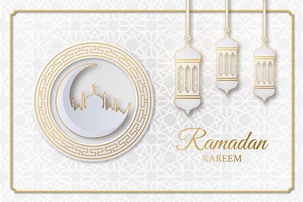 Исламский рамадан карим фон с мечетью, полумесяцем, фонарем и геометрическим узором