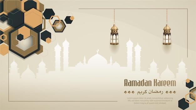 Islamic ramadan kareem card design with mosque and lanterns